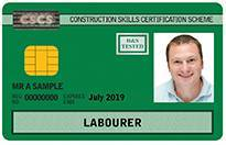 CSCS labourers card example - citb course