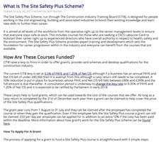 How to claim your site safety plus grant, and information on the levy.