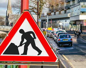 Road-works-sign-on-UK-highway