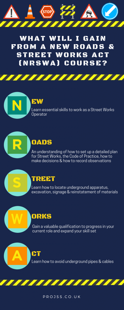 "An infographic is presented stating ""What will I gain from a New Roads & Street Works Act (NRSWA) course?"". The infographic provides 5 benefits you will gain from taking an NRSWA course."