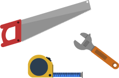 An image of a saw, tape measure & screwdriver.