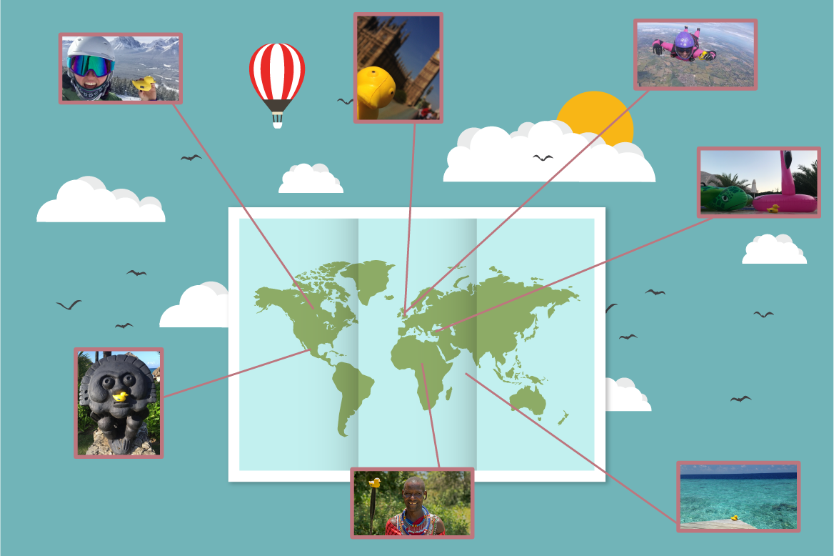 Marvin's adventures. A sample of pictures sent to PSS on a cartoon map.