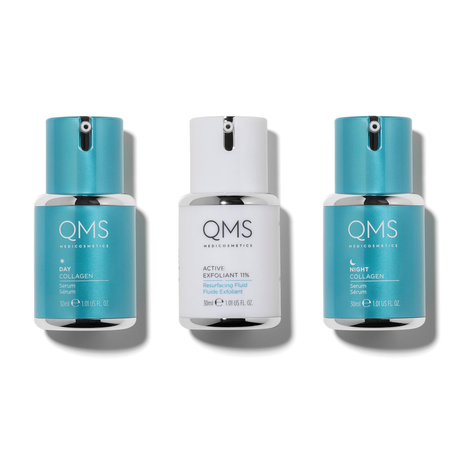 Three bottles of cosmetics with collagen forming the Collagen System range from QMS Medicosmetics