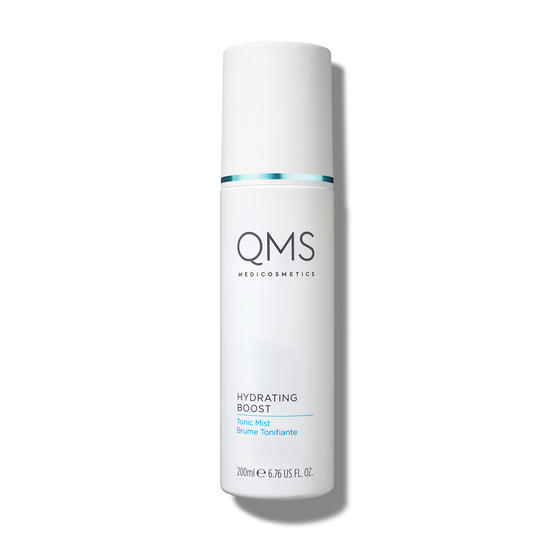 Bottle of Hydrating Boost Tonic Mist from QMS Medicosmetics, freshening tonic that restores the skins pH level