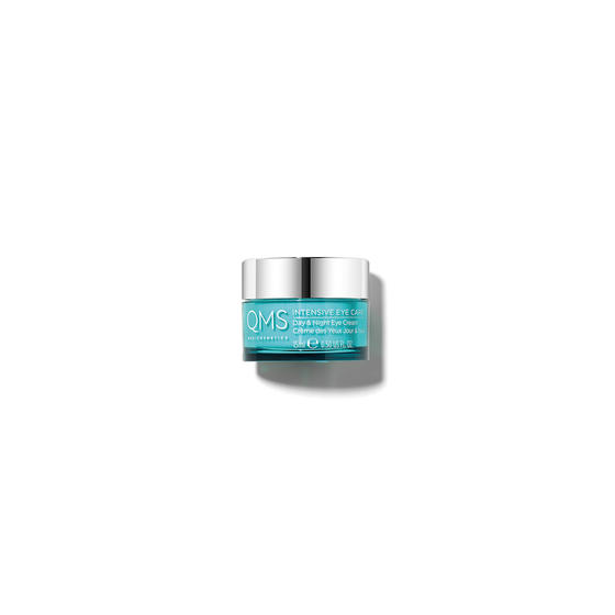 Pot of Intensive Eye Cream from QMS Medicosmetics to reduce crows feet and hydrate the skin around the eyes