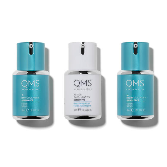 Three bottles of cosmetics with collagen forming the Collagen System Sensitive range from QMS Medicosmetics