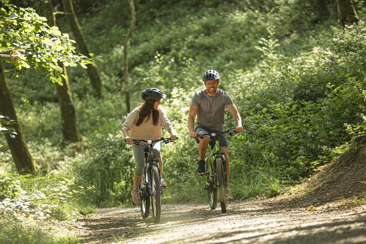 Bicycle, Vehicle, Transportation, Person, Mountain Bike, Cyclist, Path, Land, Helmet, Woodland