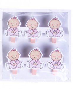 """PACK 6 PINZAS BABY MADERA NI""""A"""