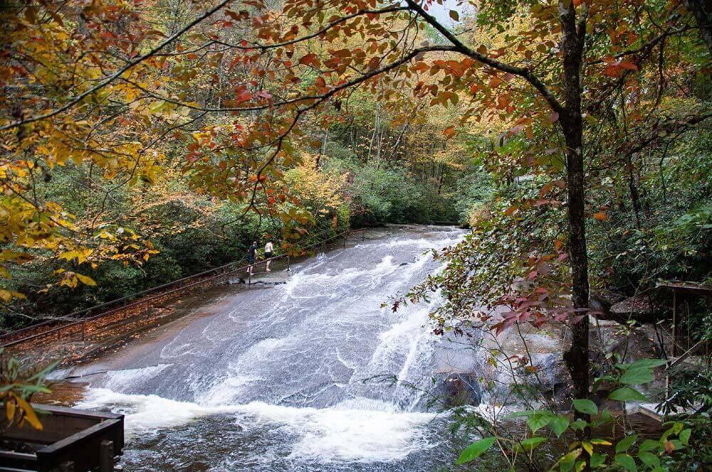 sliding rock waterfall near asheville north carolina