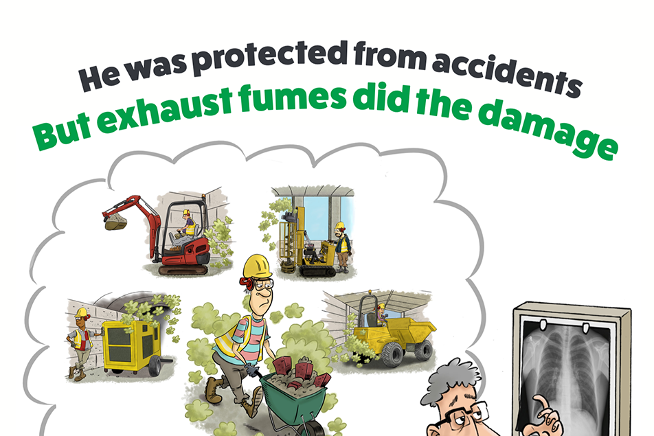 RVT Poster Exhaust Fumes Cartoon Exhaust fumes awareness
