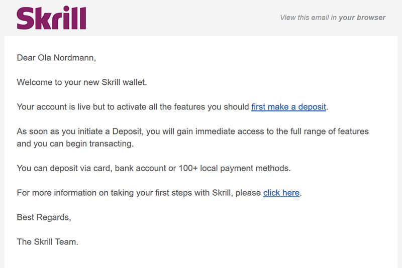 Skrill confirmation email