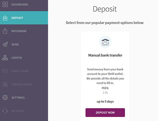 Skrill deposit screen