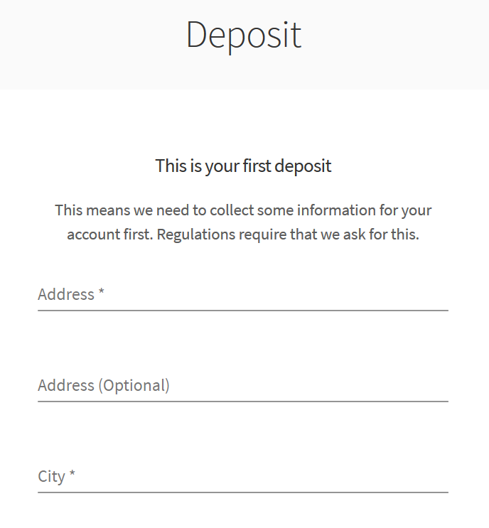 Skrill first deposit screen