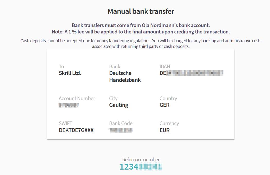 Skrill bank transfer confirmation screen
