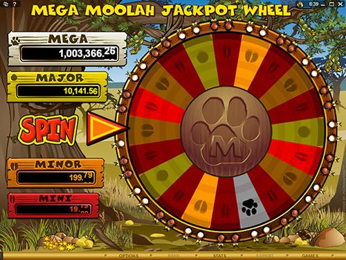 mega moolah's jackpot bonus wheel
