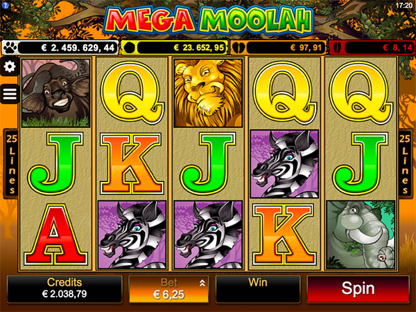 mega moolah screenshot of main game