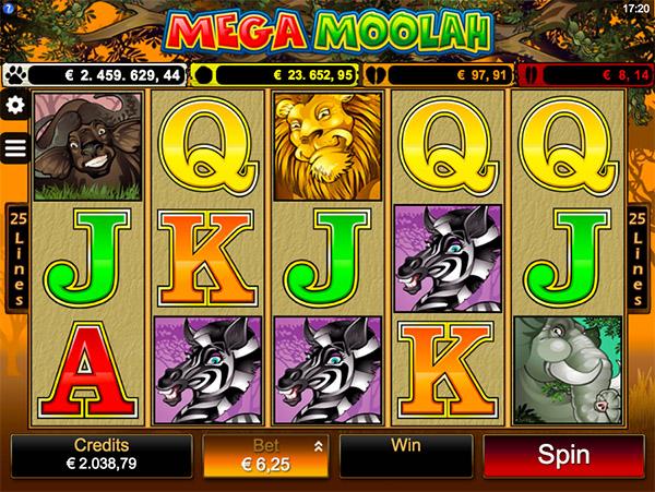 mega moolah screenshot of main game