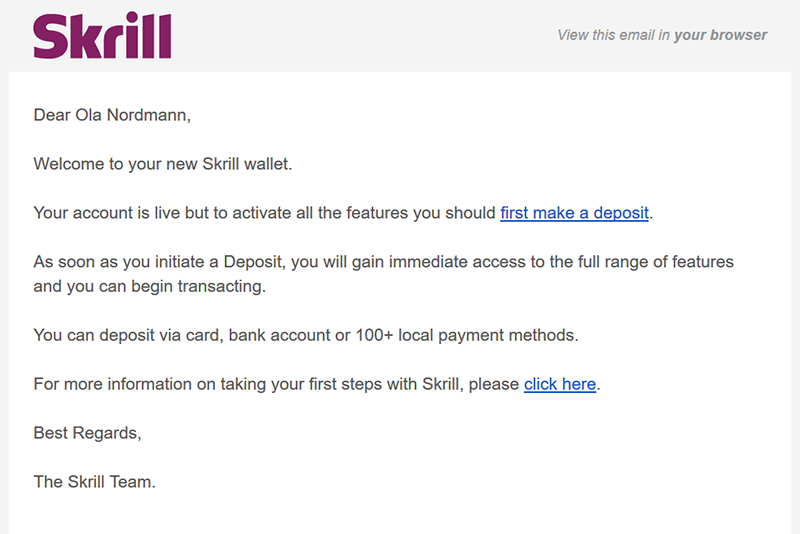 Skrill confirmation email