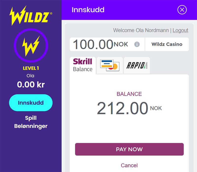 Wildz Skrill screen 3