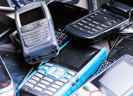 A photo of mobile phones to be recycled