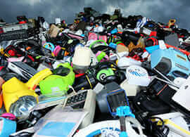 A photo of electronics at a landfill site