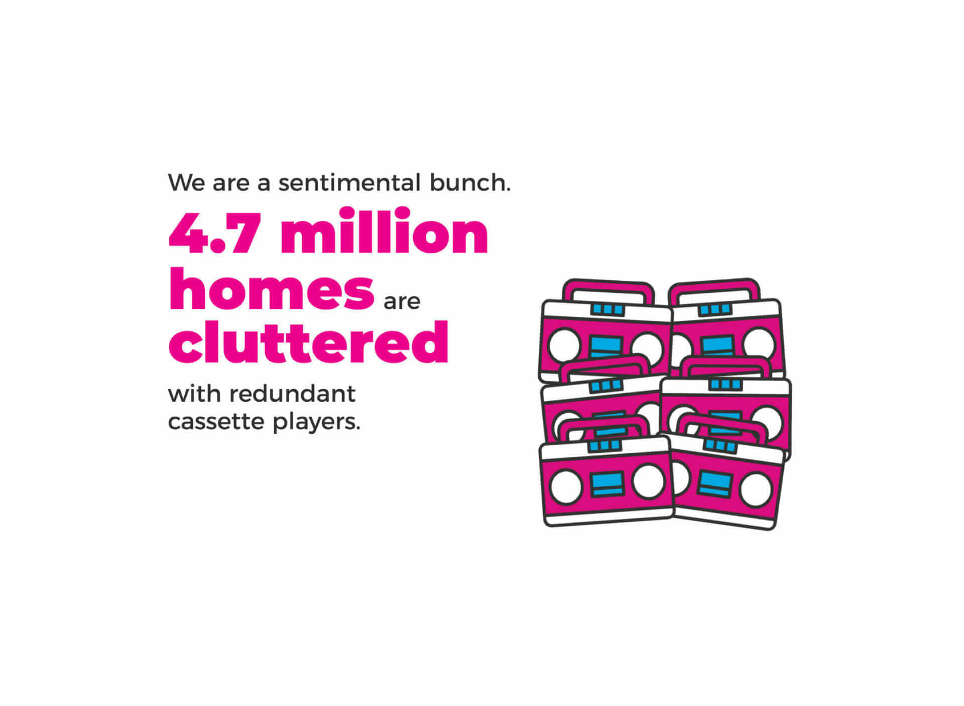 illustration of the fact that 4.7 million homes are hoarding redundant cassette players