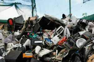 photo of e-waste at a processing centre