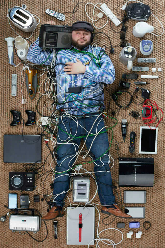 Ian Downs, DJ Downsy, with old electricals photogrphed by Gregg Segal
