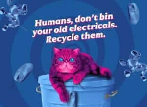 Hynpocat the pink recycling cat saying don't bin old electricals