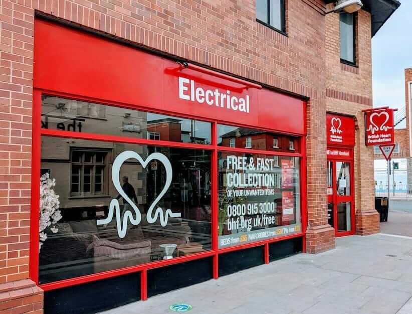 Charity electrical recycling and reuse shop front - British Heart Foundation