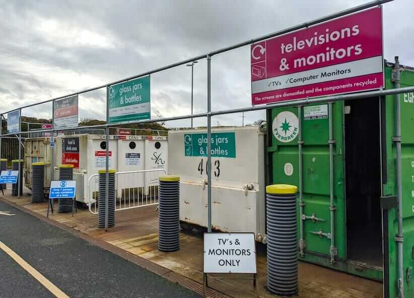 recycling drop-off for TVs and monitors at municipal waste and recycling centre, Herefordshire