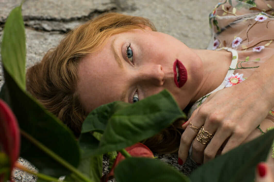 Lily Cole models ethical jewellery made from recycled electricals by Lylie's