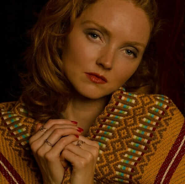 Lily Cole models ethical jewellery made from recycled electricals by Lylie's sustainable jewellers