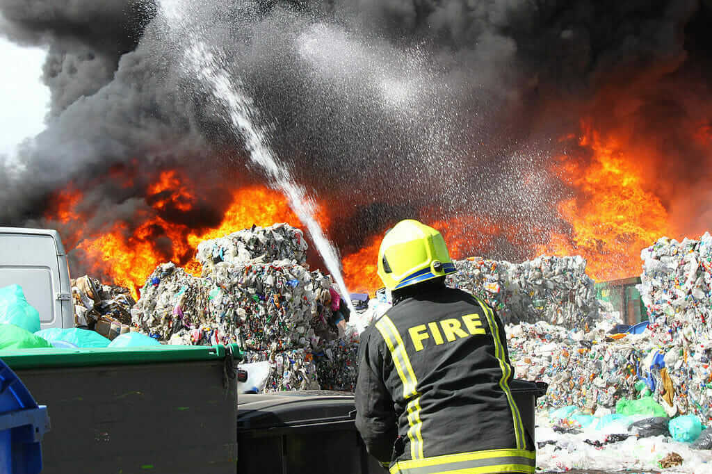 fire fighting at waste site