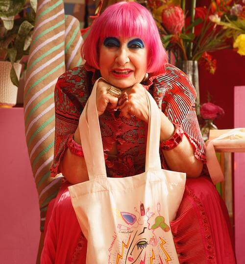 Zandra Rhodes with electrical tote 5 sqd