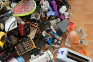 pile of old electricals for recycling