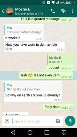 La citation pour les réponses dans WhatsApp
