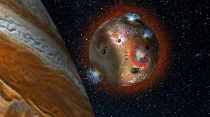 Quand l'ombre de Jupiter recouvre la lune Io, alors l'atmosphère de cette dernière gèle complètement.