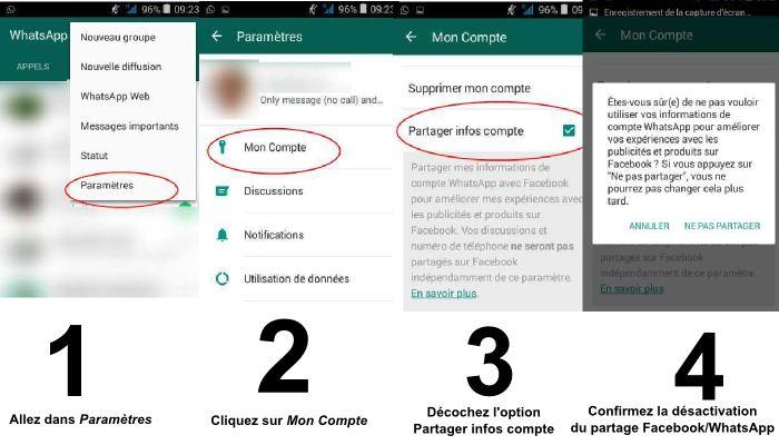 Pour désactiver le partage et la synchronisation entre WhatsApp et Facebook,allez dans Paramètres, Mon compte. Tout en bas, vous verrez une nouvelle option appelée Partager infos Compte. Décochez la case pour désactiver le partage.
