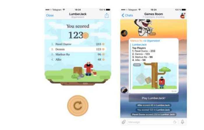 L'application Telegram propose désormais des jeux via les Bots et la plateforme Gamee.