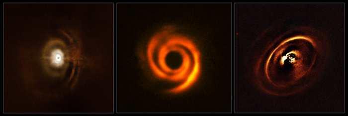3 observations menées par l'instrument SPHERE du Very Large Telescope de l'Agence Spatiale européenne montrent des images étonnantes sur les sculptures des systèmes solaires depuis des disques protoplanétaires pour devenir des planètes.