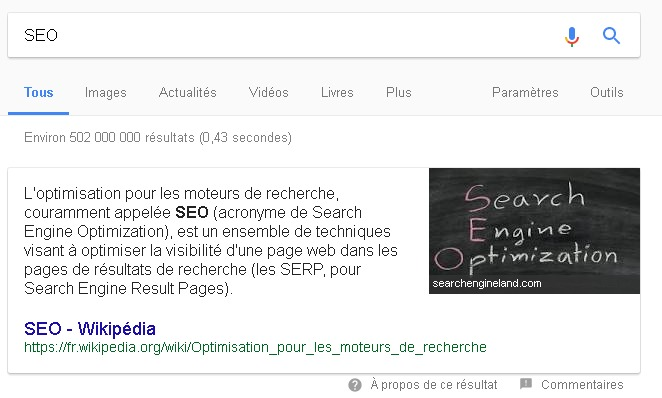 Un exemple d'Answer Box (Extrait optimisé) dans Google