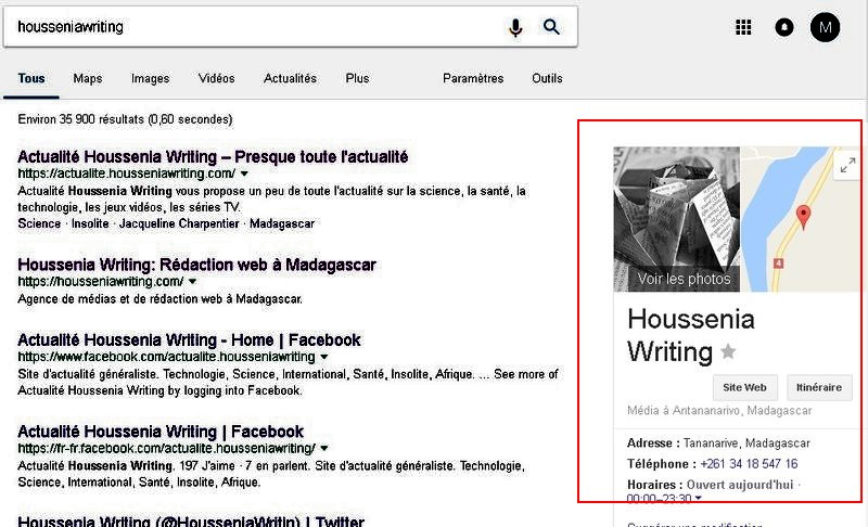 La balise Organization ou Google My Business vous permet d'afficher votre site dans le Knowledge Graph de Google.