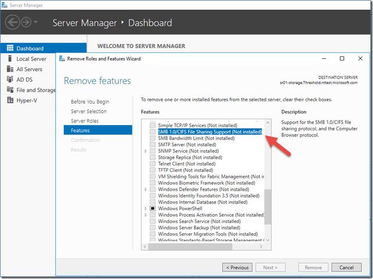 Désactiver la norme SMB1 pour se protéger du Ransomware Wannacry sur Windows Server 2012 R2