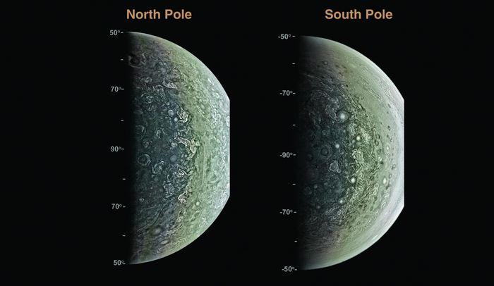 Des images de Jupiter par Juno - J.E.P. Connerney et al., Science (2017)