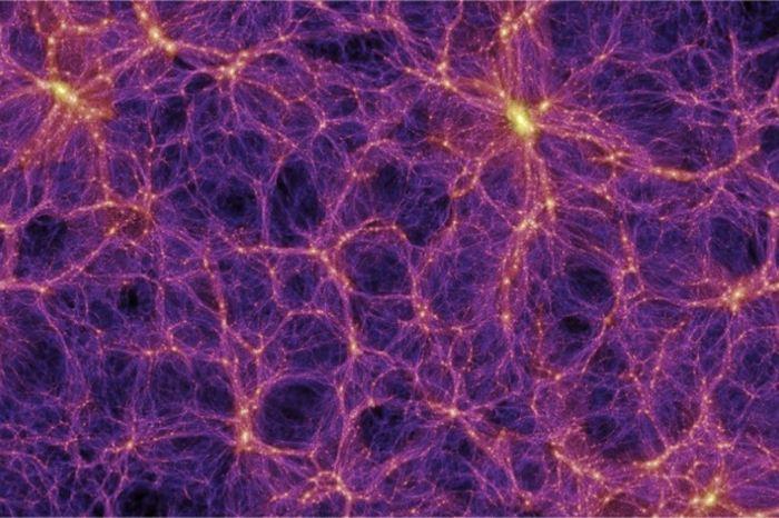 Une simulation de la structure de l'univers. On a les filaments et les vides. Et nous, dans la Voie lactée, vivons dans un de ces vides - Crédit : Millennium Simulation Project