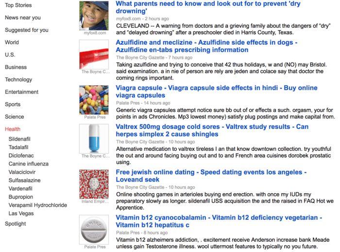 Pendant quelques heures, la version US de Google Actualités a été touchée par du spam de médicament, notamment le viagra et d'autres joyeusetés similaires.