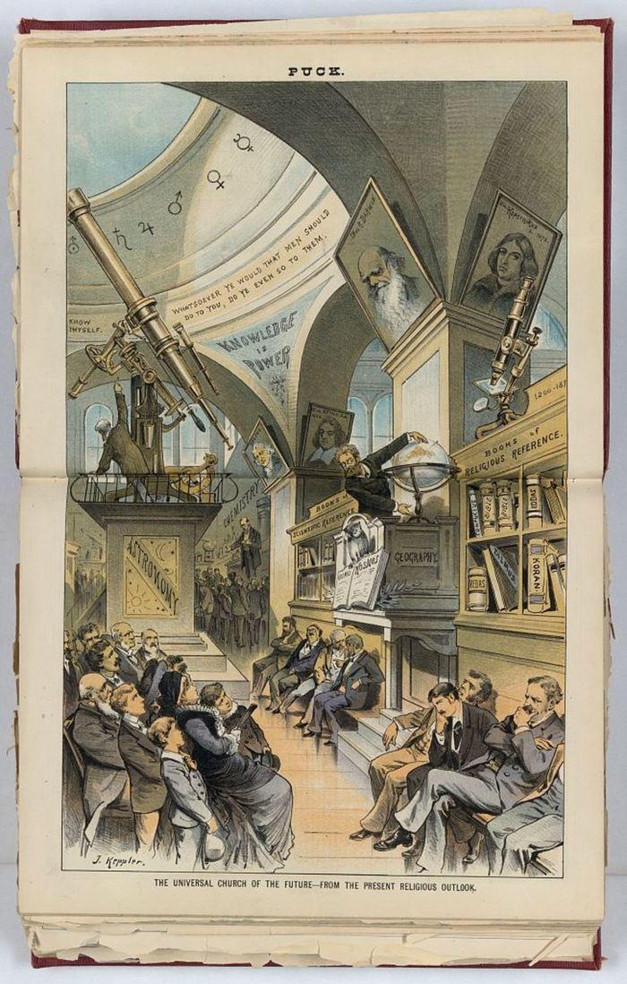 En 1883, l'illustrateur Joseph Ferdinand Kepler présentait un futur où la religion et la science était une seule entité - Puck Library of Congress