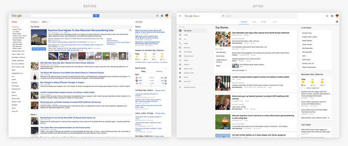 A gauche, l'ancienne version de Google Actualités et à droite, le nouveau design