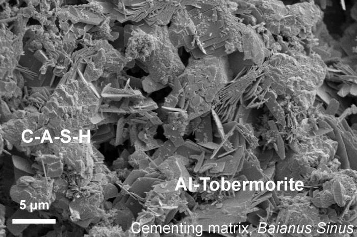 Une image au microscope du béton romain. On a un matériau liant grumeleux connu comme CASH (calcium-aluminum-silicate-hydrate) qui se forme quand la cendre volcanique, la chaux et l'eau de mer se mélangent. Des cristaux lamellaires d'Al-tobermorite se développent dans la matrice de cimentation de CASH - Crédit : Marie Jackson